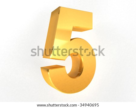 5 - five Gold Number on white background - 3d image