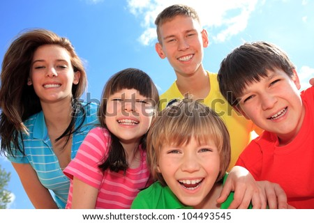 Five happy children - stock photo