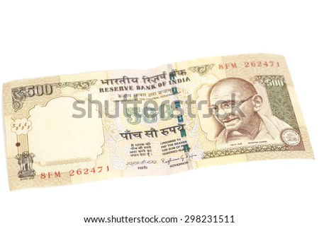 Five hundred rupee note (Indian currency) isolated on white background. - stock photo