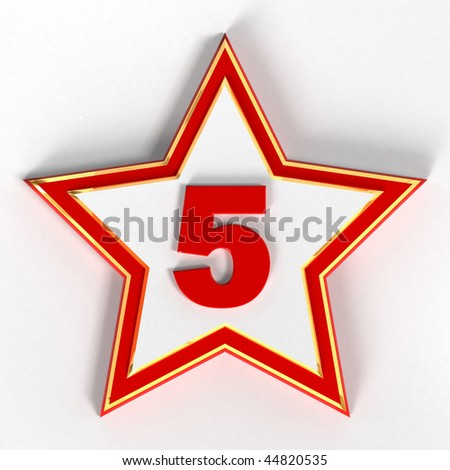 5 - five Red Number on star - 3d image - stock photo