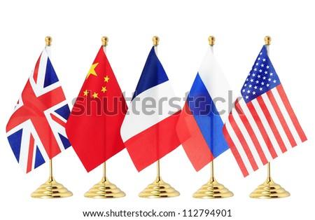 Flag of China France Russia UK USA,Isolated on the white background - stock photo