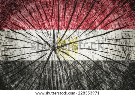 flag of Egypt on cracked wooden texture - stock photo