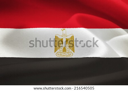 flag of Egypt waving in the wind. Silk texture pattern - stock photo