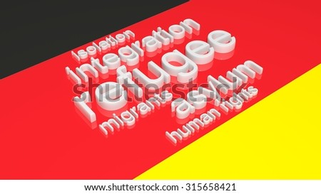 Flag of Gremany with text associated with immigration. - stock photo