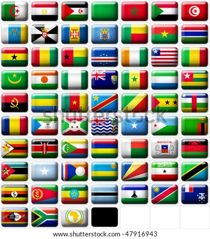 66 flags icons (buttons) of Africa 599x457 pixels including not recognised countries
