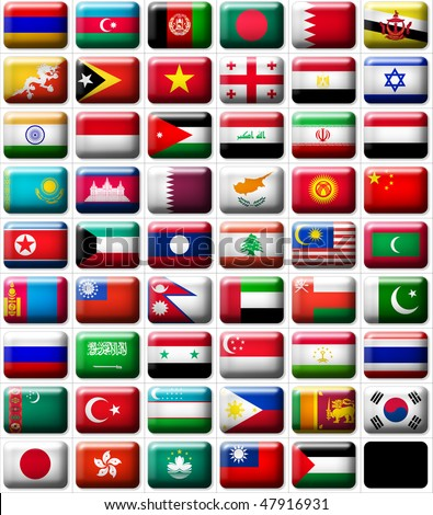 53 flags icons (buttons) of Asia 599x457 pixels