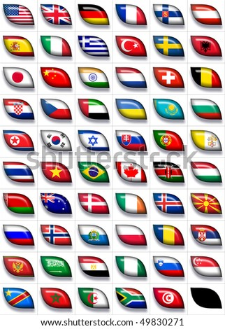 59 flags icons (the countries of all continents) 599x457 pixels