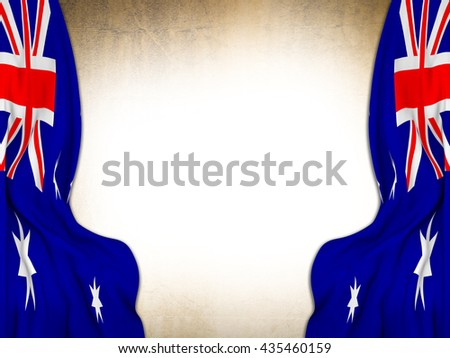 Flags of Australia moved to make room to a vintage background-3d Rendering  - stock photo