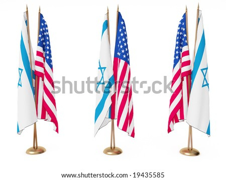 flags of Israel and the United State isolated white - stock photo