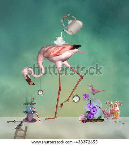 Flamingo tea party - 3D and digital painted illustration - stock photo