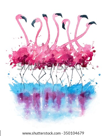 Flamingos watercolor painting               - stock photo