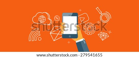 Flat backgrounds set. Data transfer. Cloud computing and mobile technology. Internet and network. - stock photo