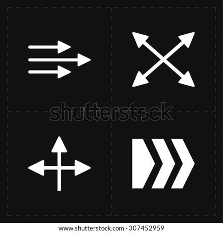 4 flat modern arrows - stock photo