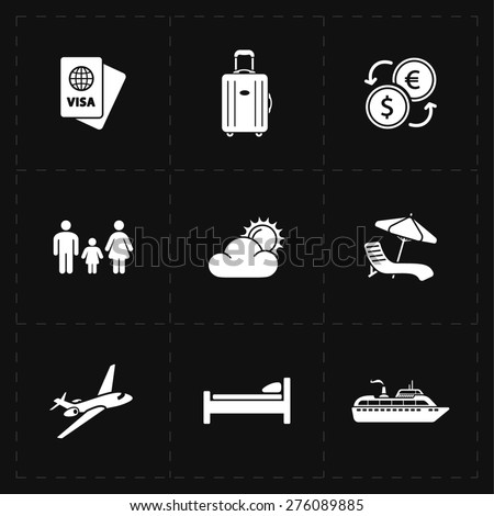 9 flat travel company icons - stock photo