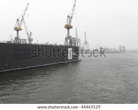 floating shipyard in hamburg - stock photo