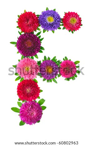 floral alphabet isolated on white background. letter F