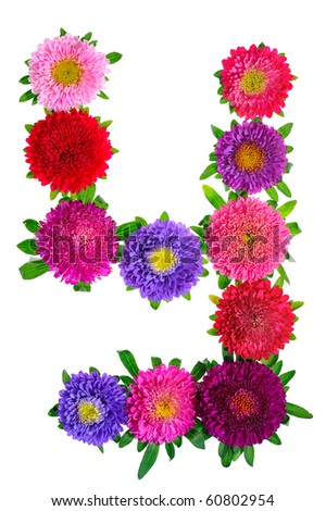 floral alphabet isolated on white background. letter Y