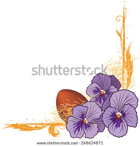 floral  border with violet pansies and egg  - stock photo