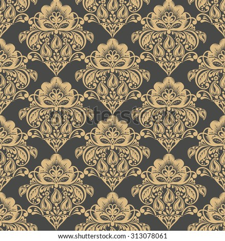 Floral damask seamless pattern background. Elegant luxury texture for wallpapers, backgrounds and page fill. raster version - stock photo