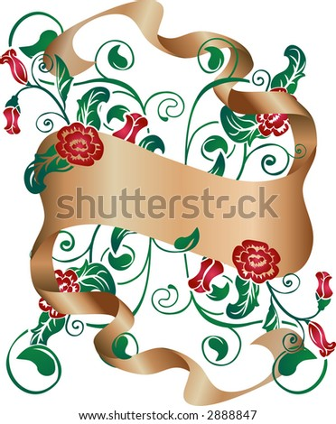 Floral design element with scroll. Raster version - stock photo