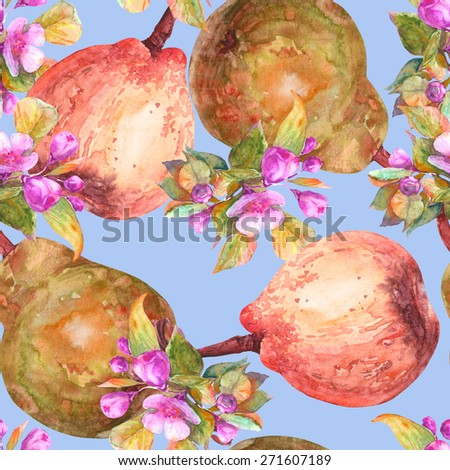 Floral seamless pattern. Pears and blooming branch of apple,  watercolor  hand painted illustration - stock photo