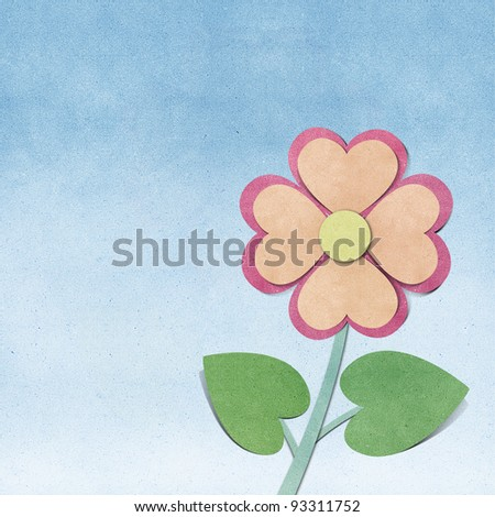 Flower and sky  recycled  paper craft  background - stock photo