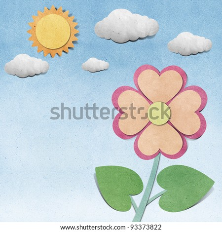 Flower and sky  recycled  papercraft  background - stock photo