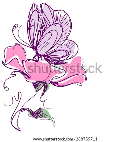 Flower background for design with tulip  - stock photo