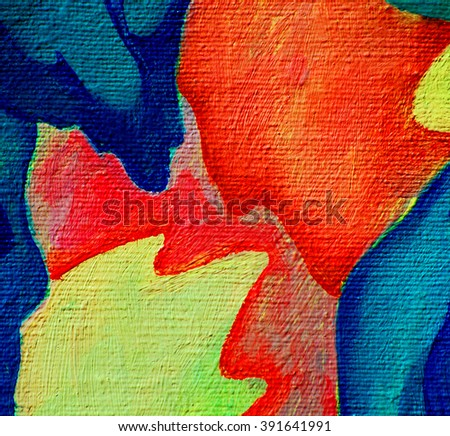 flower painting by oil on canvas, illustration - stock photo