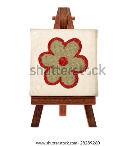 flower picture on a wooden tripod - stock photo