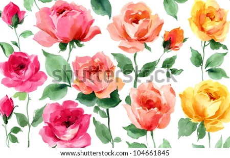 flowers hand painted watercolor roses - stock photo