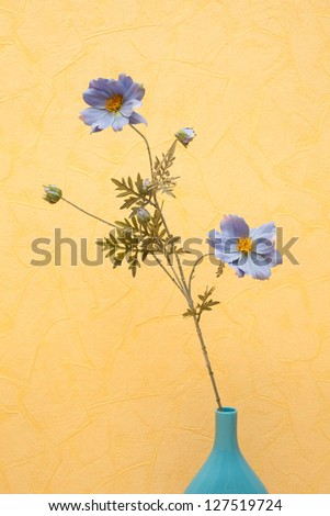 Flowers in the blue vase.