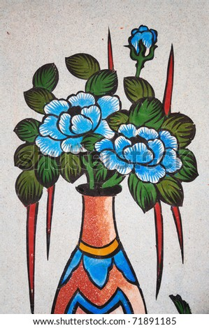"""""""Flowers in vase""""  Chinese Painting on stone wall in Chinese Temple.This is traditional and generic style in Thailand. No any trademark or restrict matter in this photo. - stock photo"""