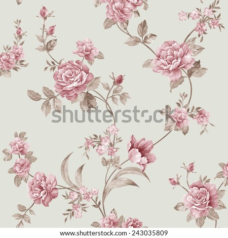 flowers seamless pattern - For easy making seamless pattern use it for filling any contours  - stock photo