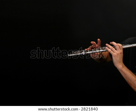 flute player - clarinet - stock photo