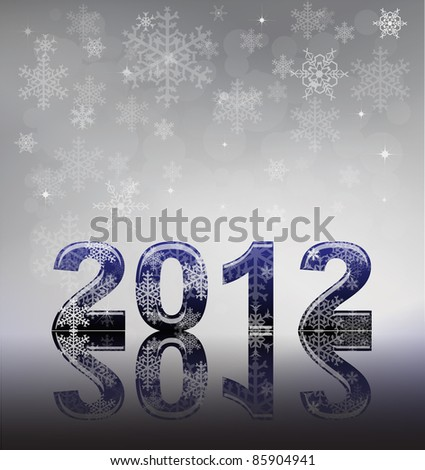 2012 flyer template. 2012 written in glossy letters with snow and reflection on silver snowflake background with space for your text.  Also available in vector format. - stock photo
