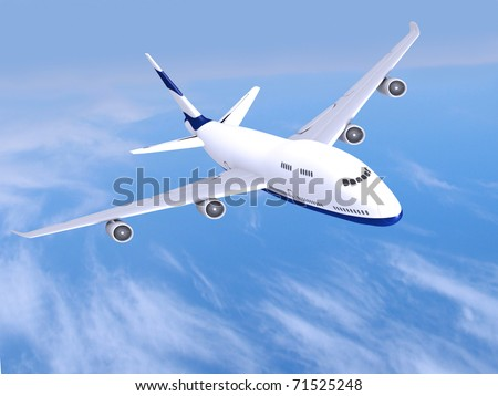 flying jet airplane - stock photo