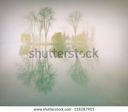 Foggy morning landscape in the autumn park near the lake. Vintage stylization - stock photo