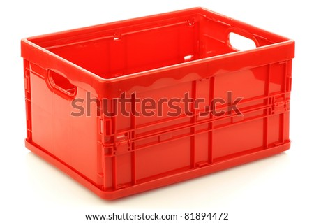 Foldable Red Plastic Storage Box On A White Background (3D View)