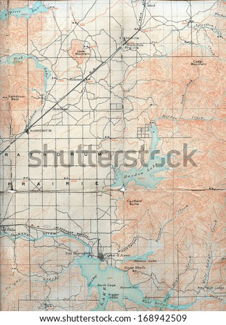 1903 Folded Map of Rathdrum Prairie, Idaho - stock photo