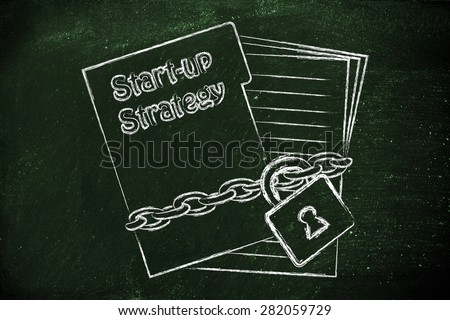 folder of documents with chain and lock, secret start-up strategy - stock photo