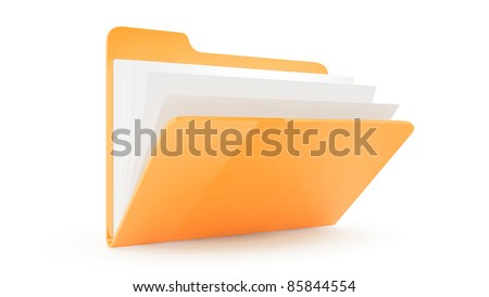 Folder with files with files on white background - stock photo