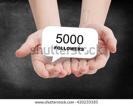 5000 followers written on a speechbubble - stock photo