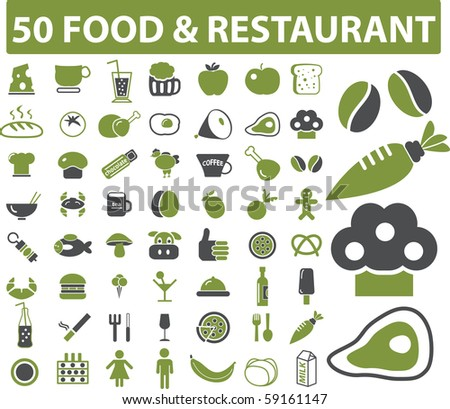 50 food & restaurant signs. see more in my portfolio - stock photo