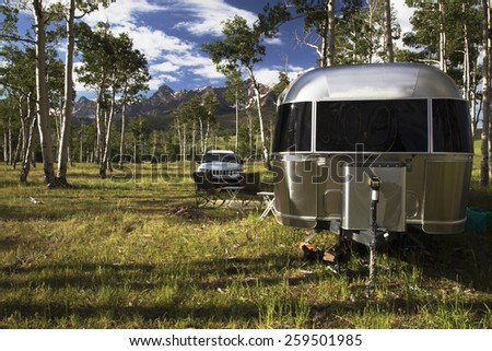 28 foot Airstream on Hastings Mesa near Ridgway, Colorado, USA, 04.07.2014