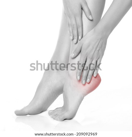 foot pain. isolated on white - stock photo