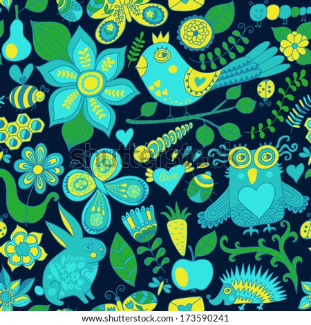 forest seamless pattern. Floral background.Owl, rabbit, butterfly, hedgehog. Use it as pattern fills, web page background, surface textures, fabric or paper, backdrop design. Summer template. - stock photo