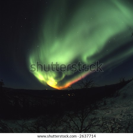 120 format slide scan Colorful Aurora Borealis (northern lights) display in the night sky near Fairbanks, Alaska