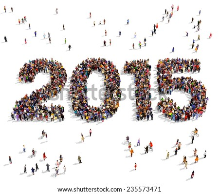 2015 formed out from celebrating people seen from above - stock photo