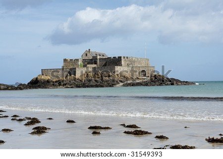 """Fort National"" (formerly Fort Royal) in Saint Malo, France. - stock photo"